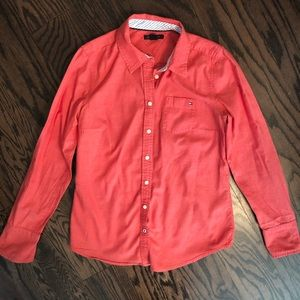Tommy Hilfiger coral button down top small